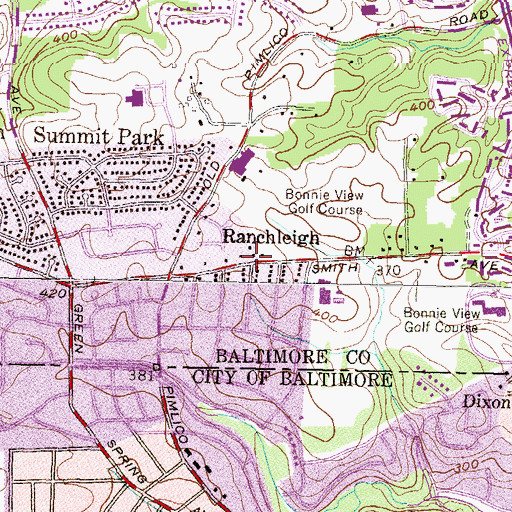Topographic Map of Ranchleigh, MD