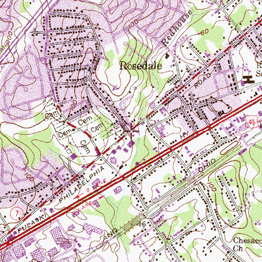 Topographic Map of Rosedale, MD