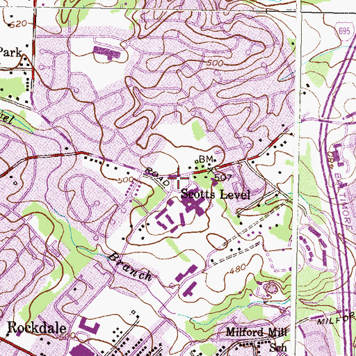 Topographic Map of Scotts Level, MD