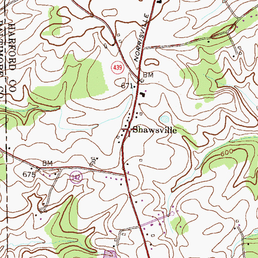 Topographic Map of Shawsville, MD