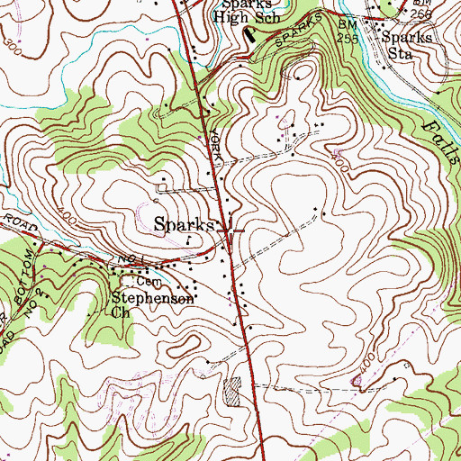 Topographic Map of Sparks, MD