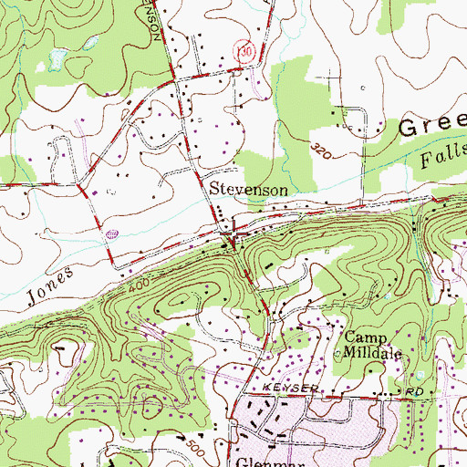 Topographic Map of Stevenson, MD