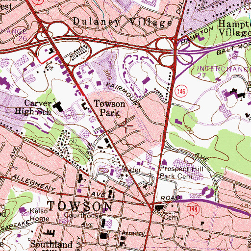 Topographic Map of Towson Park, MD