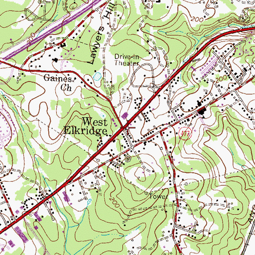 Topographic Map of West Elkridge, MD