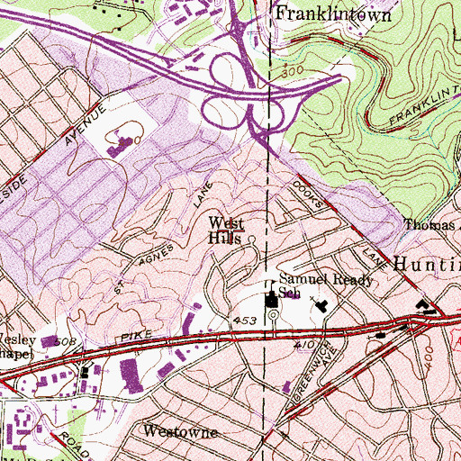 Topographic Map of West Hills, MD
