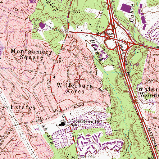 Topographic Map of Willerburn Acres, MD
