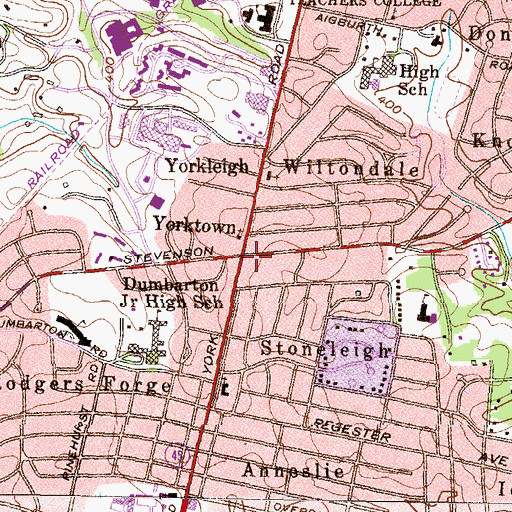 Topographic Map of Yorktown, MD