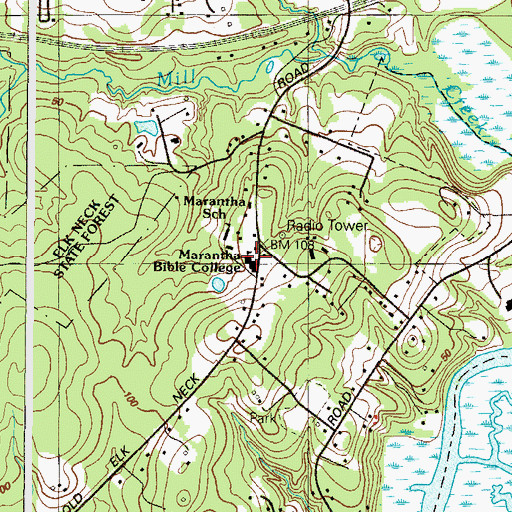 Topographic Map of Marantha Bible College, MD