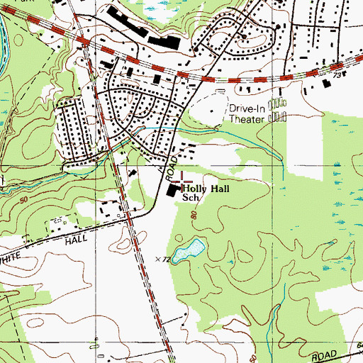 Topographic Map of Holly Hall School, MD