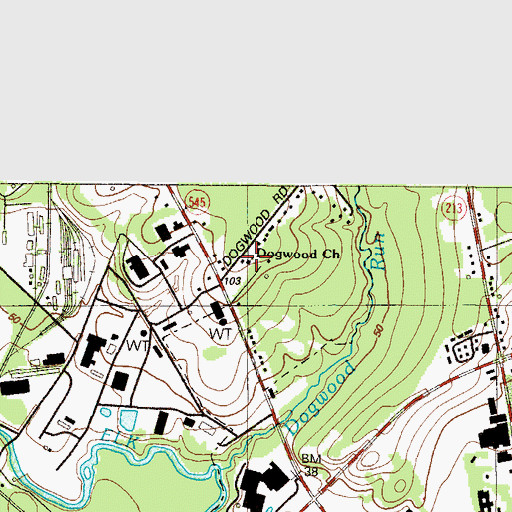 Topographic Map of Dogwood Church, MD