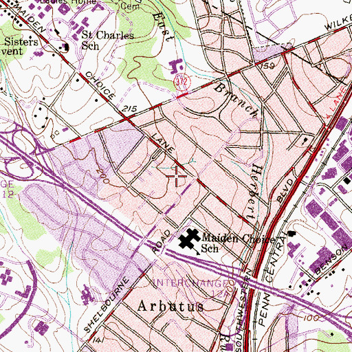 Topographic Map of Arbutus Shopping Center, MD