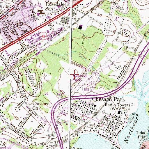 Topographic Map of Batavia Park, MD