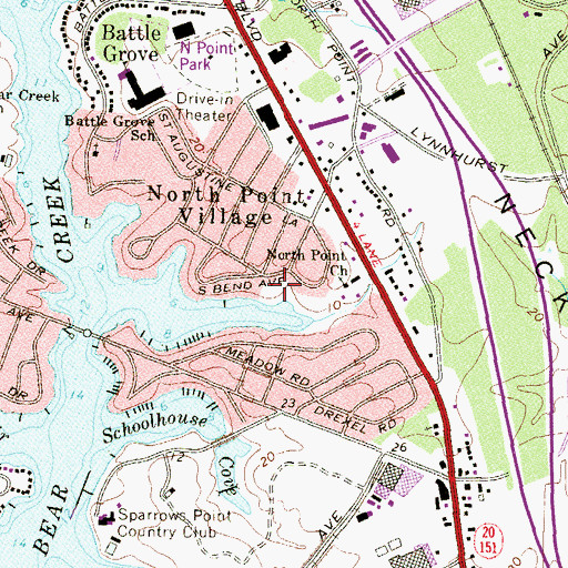Topographic Map of Battle Grove Park, MD