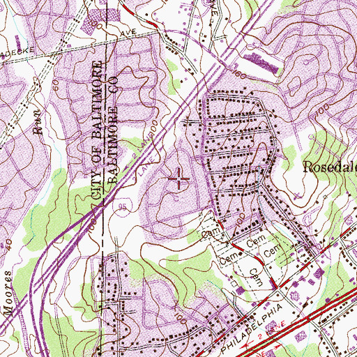 Topographic Map of Bluegrass Heights, MD