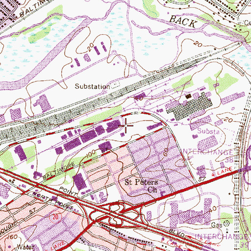 Topographic Map of Canton Industrial Park, MD