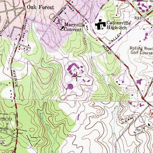 Topographic Map of Community College of Baltimore County Catonsville, MD