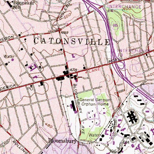 Topographic Map of Catonsville Elementary School, MD