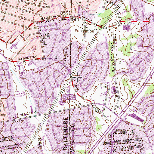 Topographic Map of Cedonia Park, MD