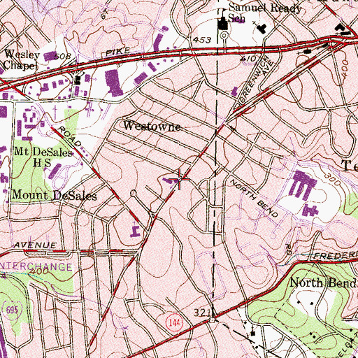 Topographic Map of Christ Evangelical Lutheran Church, MD