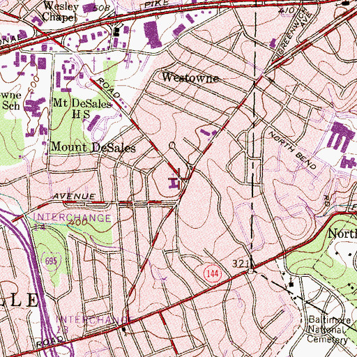 Topographic Map of Christian Temple, MD