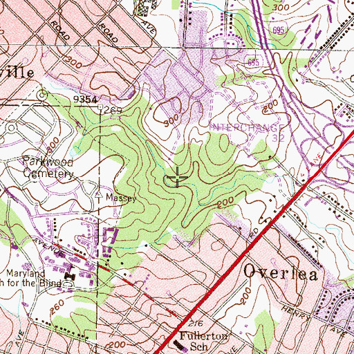Topographic Map of Double Rock Park, MD