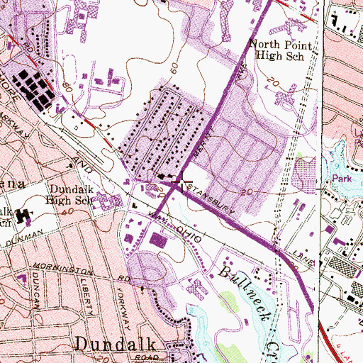 Topographic Map of Dundalk Presbyterian Church, MD