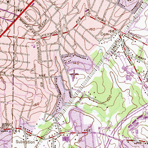 Topographic Map of Elmwood Elementary School, MD