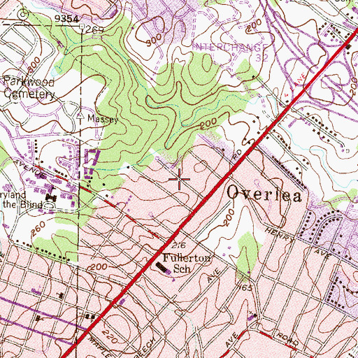 Topographic Map of Fullerton Heights, MD