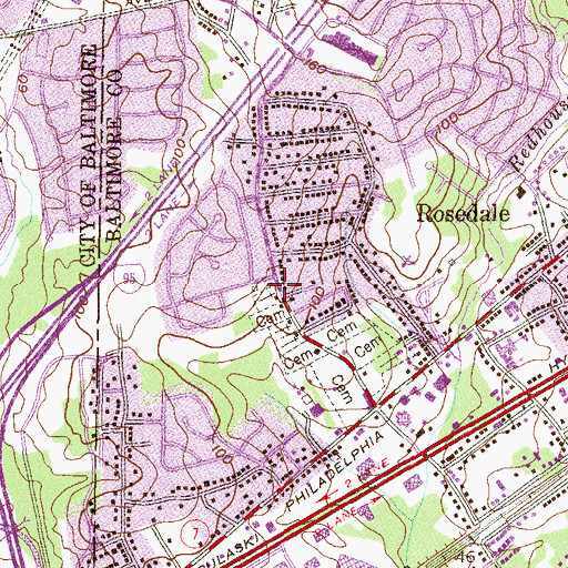 Topographic Map of Hamilton, MD