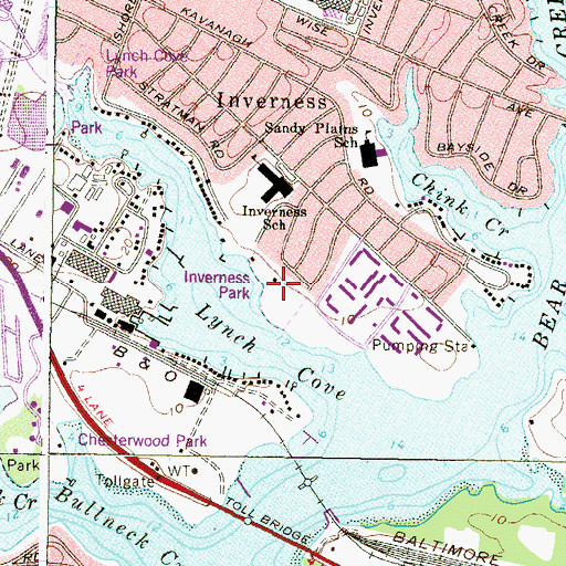 Topographic Map of Inverness Park, MD