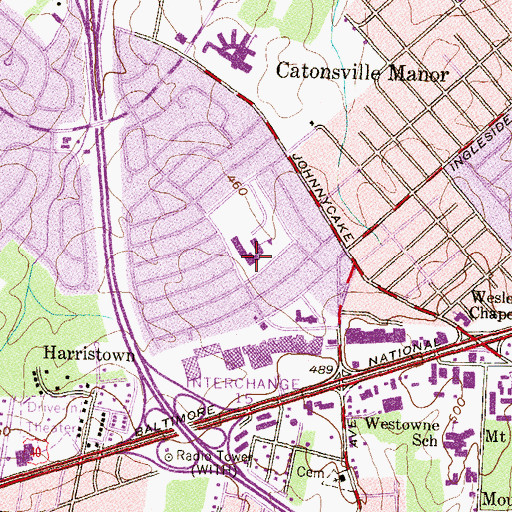 Topographic Map of Johnnycake Elementary School, MD