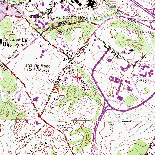 Topographic Map of Knollview, MD