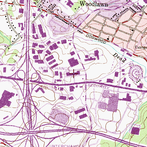 Topographic Map of West Bell Shopping Center, MD