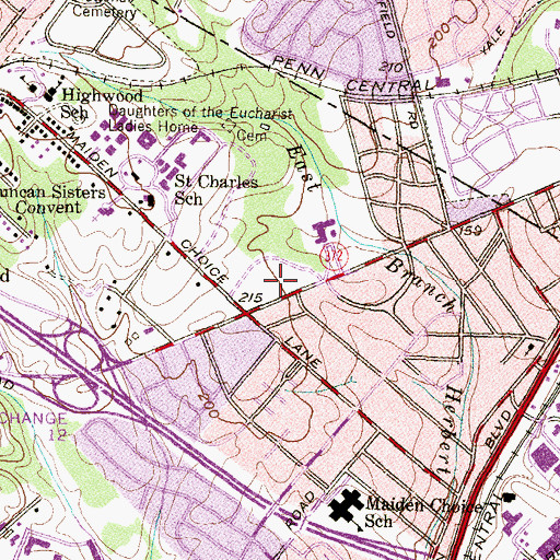 Topographic Map of Wilkens Plaza Shopping Center, MD