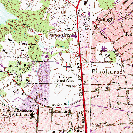Topographic Map of Elkridge Hunt Club, MD