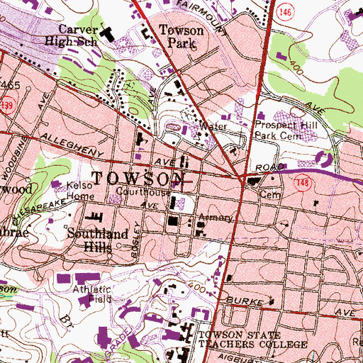 Topographic Map of Calvary Baptist Church, MD