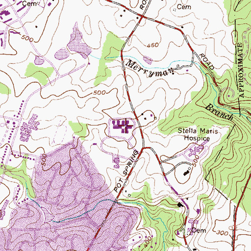 Topographic Map of Childrens Village, MD