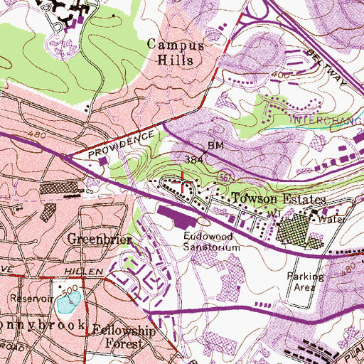 Topographic Map of Goucher Woods, MD