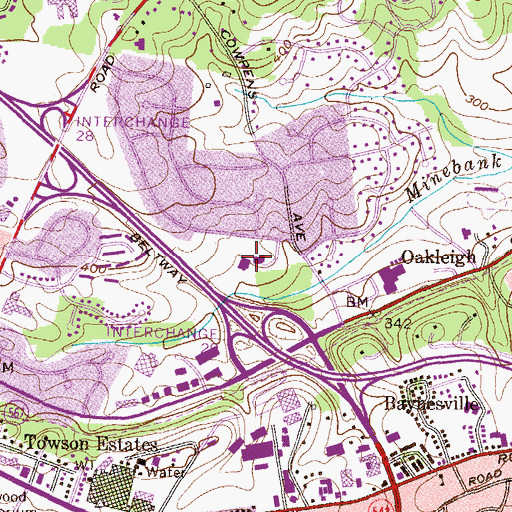 Topographic Map of Lutheran High School of Baltimore, MD