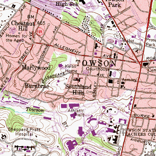 Topographic Map of Presbyterian Home of Maryland, MD
