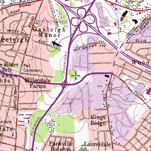 Topographic Map of Putty Hill Park, MD