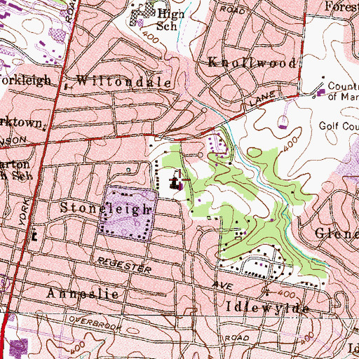 Topographic Map of Stoneleigh Elementary School, MD