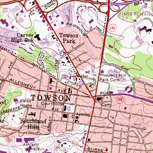 Topographic Map of Towson Catholic High School, MD