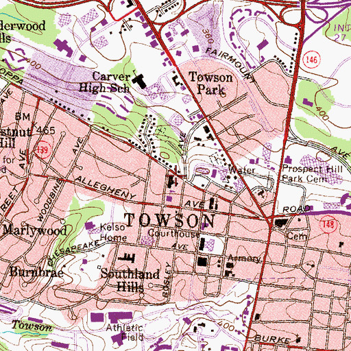 Topographic Map of Towson Elementary School, MD