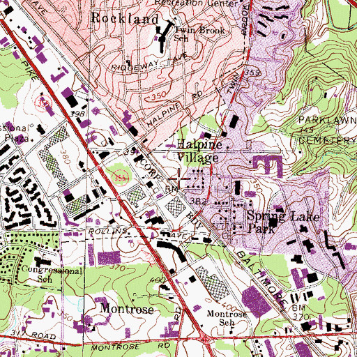 Topographic Map of Twinbrook Metro Station, MD