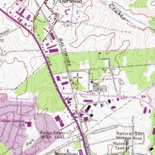 Topographic Map of Metro Park North Industrial Park, MD