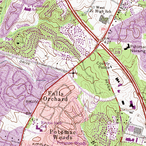 Topographic Map of Lutheran Church of the Cross, MD