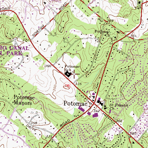 Topographic Map of Potomac United Presbyterian Church, MD