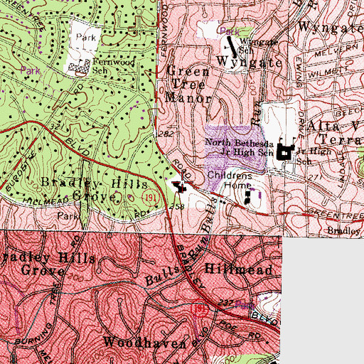 Topographic Map of Bradley Hills Church, MD