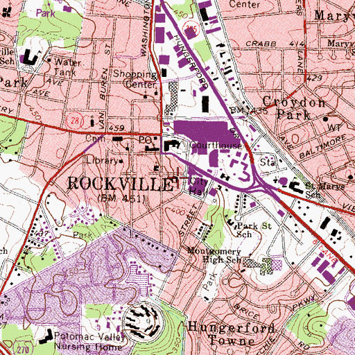 Topographic Map of Rockville City Hall, MD